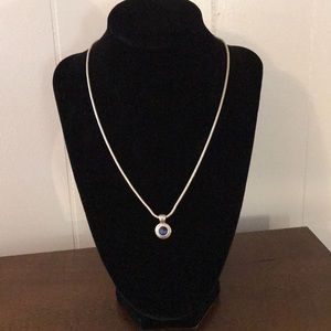 Jewelry - Navy Blue & Silver Tone Necklace
